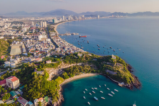Aerial view over Nha Trang city, Vietnam taken from drone