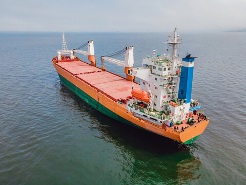 Aerial view of general cargo ship in open sea, Aerial image