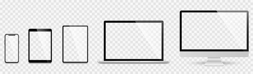 Fototapeta Realistic set computer, laptop, tablet and smartphone. Device screen mockup collection. Realistic mock up computer, laptop, tablet, phone with shadow- stock vector. obraz
