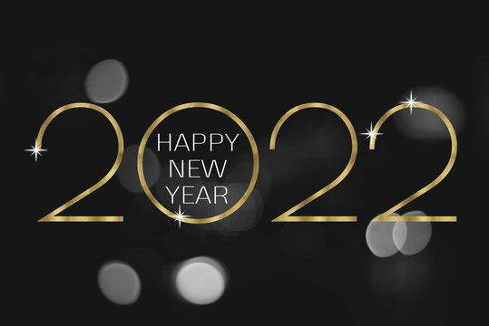 Text Happy New Year 2022 with black and white bokeh background