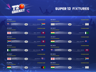 Obraz T20 Cricket Super 12 Fixtures Schedule Information On Blue Silhouette Players Background. - fototapety do salonu