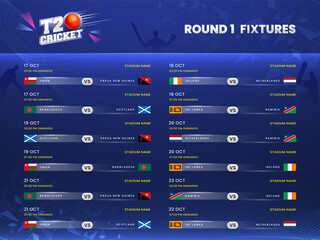 Obraz T20 Cricket Round 1 Fixtures Schedule On Blue Silhouette Players Background. - fototapety do salonu