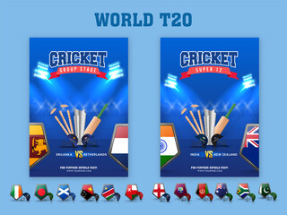 Obraz World T20 Cricket Template Set With 3D Tournament Equipment And Participating Countries Flag Shield In Blue Color. - fototapety do salonu