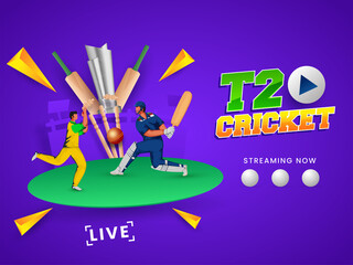 Obraz T20 Cricket Watch Live Show With Batsman, Bowler In Playing Pose And 3D Silver Trophy Cup On Purple Background. - fototapety do salonu