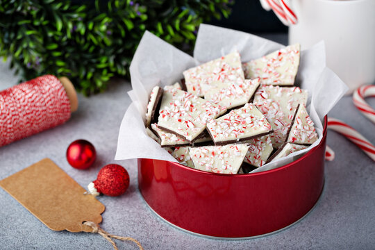 Homemade peppermint bark, white and dark chocolate with crushed candy canes