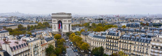 Obraz Aerial view of Arc de Triomphe, Paris - fototapety do salonu