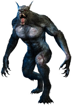 Werewolf advancing with mouth open 3D illustration