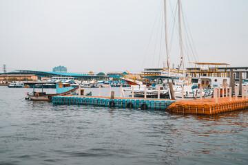 Obraz Port of Tanjung Priok on a gloomy day in Jakarta, Indonesia - fototapety do salonu