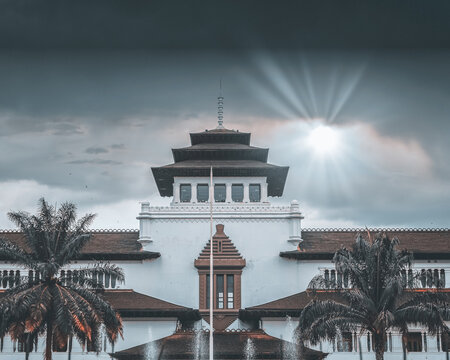 Front view of the Gedung Sate, a history museum in Bandung, Indonesia