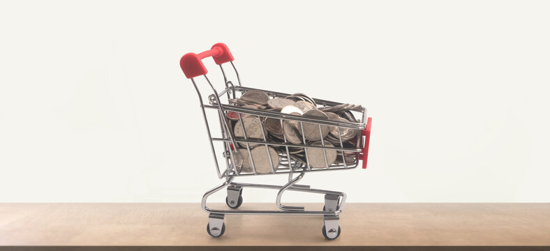 Toy shopping cart with coins and Piggy bank