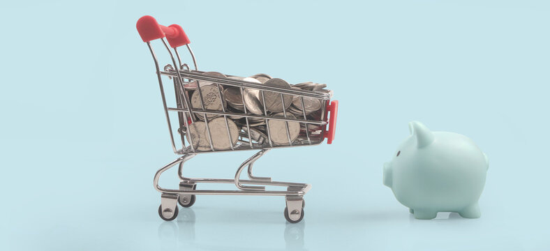 Toy shopping cart with boxes shopping and Piggy bank . Consumer society trend