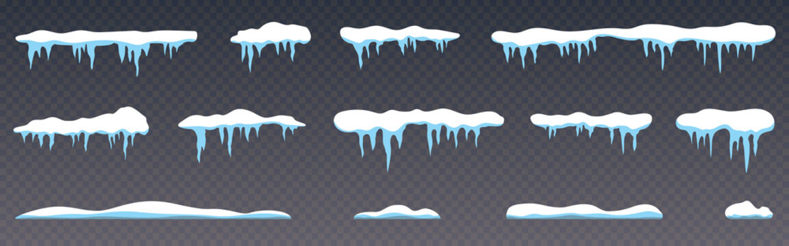 Snow caps collection. Icicles on transparent background. Realistic snow caps set. White snowdrift templates. Winter decoration and snowy objects. Snowcap borders. Vector illustration