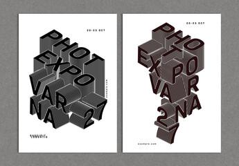 Fototapeta Modern Event Design Cover Layout with 3D Text Blend Effect obraz