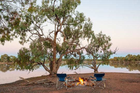 Lagoon camp site in far outback Queensland, Australia.