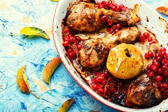Grilled chicken drumsticks with viburnum