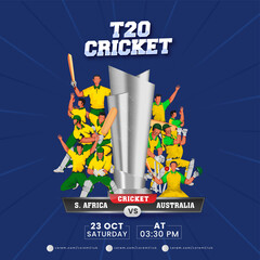 Obraz T20 Cricket Match Between Africa VS Australia And 3D Silver Trophy Cup On Blue Rays Background. - fototapety do salonu