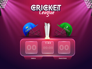 Obraz Cricket Digital Scoreboard Of Participating Team India VS Pakistan With 3D Silver Winning Trophy And Stadium Lights On Pink And Purple Background. - fototapety do salonu
