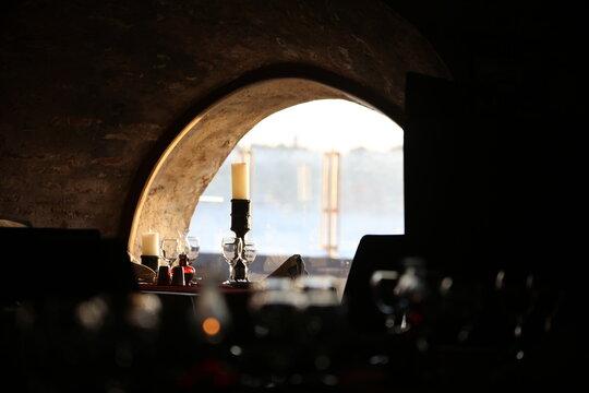Maiden's Tower (Kız Kulesi) In istanbul turkey In the Bosphorus strait off the coast of Uskudar.