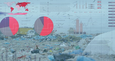 Financial data processing against landfill with bird flying in the sky