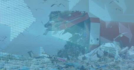 Digital composite image of multiple arrows moving against landfill with birds flying in the sky