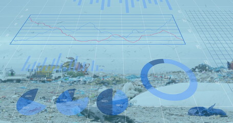 Digital composite image of statistical data processing against landfill with birds flying in the sky