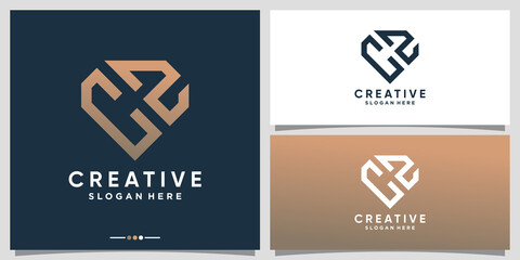Fototapeta Creative monogram logo design initial letter CZ with line art and diamond concept obraz
