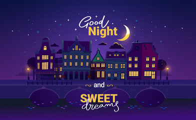 Obraz Vector illustration of night city street with light window and bridge on dark purple sky background with cloud and moon. Art design with text good night and sweet dreams - fototapety do salonu