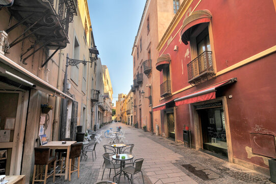 Medieval street in the old town of Oristano, Sardinia