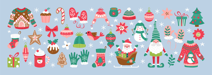 Obraz Christmas holiday cute elements set. Childish print for cards, stickers and decoration - fototapety do salonu
