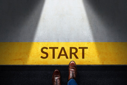 Start Concept. Top View of Businessman Steps into Start Line.  Moving Forward to New Challenge or do something New. Business Strategy, Metaphor Conceptual for Restart