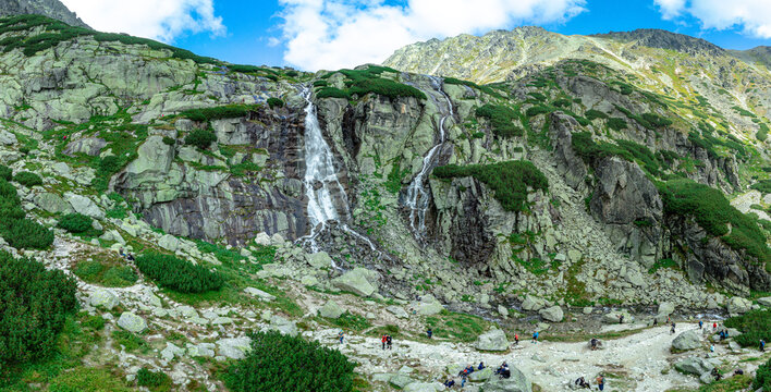Panoramic view of Skok waterfall and the lake in the western part of High Tatras, Slovakia