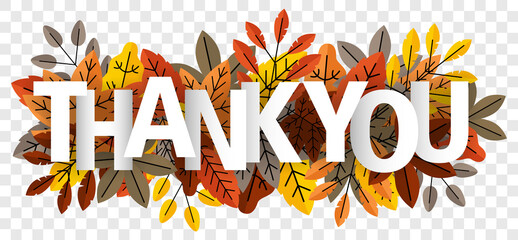 Obraz Thank you lettering on autumn leaves isolated transparent background vector - fototapety do salonu