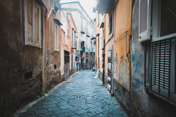 Typical picturesque streets of Naples Italy. Very atmospheric and cinematic places in the old town
