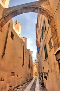 Medieval street in the Sardinian town of Oristano