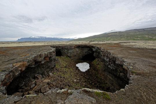 Surtshellir lava tunnels (caves) in the Hallmundarhraun lava field, Western Iceland