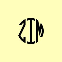 Fototapeta Creative Rounded Initial Letters ZIM Logo. obraz