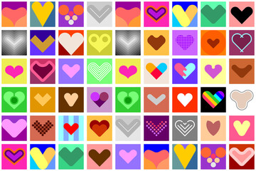 Hearts decorative seamless vector background. Large bundle of colored heart shapes, design elements.