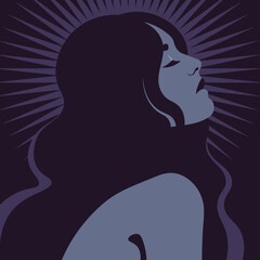 Portrait of a beautiful woman in profile. A face of a young fashion model. Magic and mysticism. Avatar for social networks. Vector illustration in flat style.