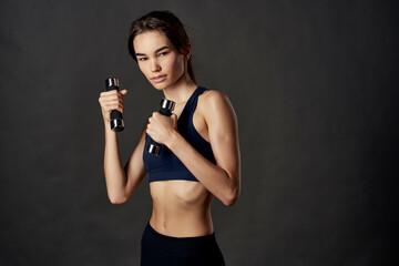 Obraz beautiful woman boxing workout exercises fitness posing isolated background - fototapety do salonu