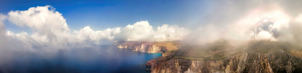 Aerial drone panorama view of the Ionian Sea coast of Zakynthos, Greece