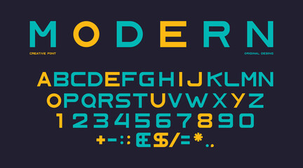 Obraz Latin alphabet, numbers and punctuation, font - fototapety do salonu