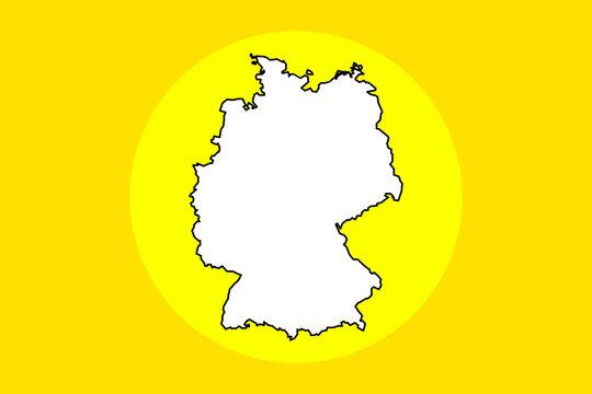 Weiße Karte von Deutschland im gelben Kreis