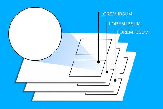 Drei Ebenen in 3d und eine runde Werbefläche