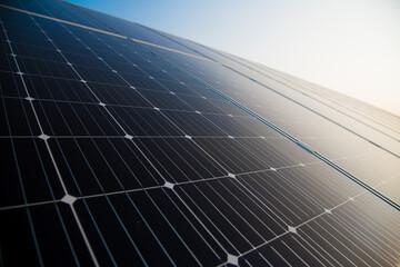 Obraz Blue solar panels with the sunny sky - fototapety do salonu