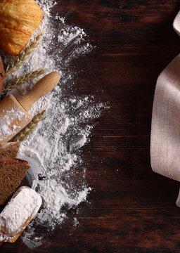 flour food fresh bread on wooden background