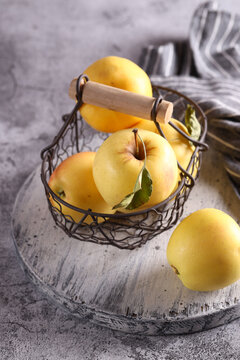 natural organic fruit apples on the table in a basket