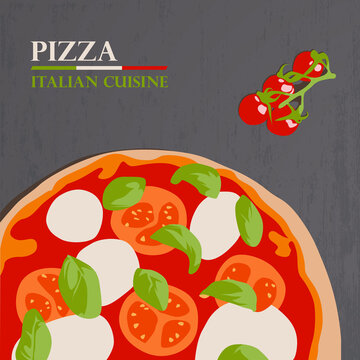 Pizza margherita, Italian cuisine, flat design vector illustration