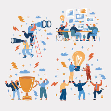 Vector illustration of Business startup work moments concept. Team in work and winning, Team, teamwork, Idea, winner, research, investigations, inclusion of people with disabilities