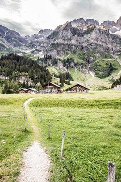 Wanderweg, Wiese, Alm, Alphütte, Weiler, Dorf, Chalet, Barme, Wallis, Valais, Schweiz, Alpenpässe Weg, wandern, Gebirge.