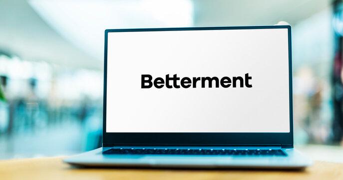 Laptop computer displaying logo of Betterment